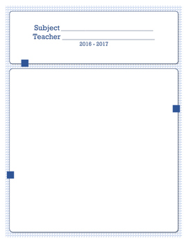 Simple One Subject Lesson Planner - Math/General Theme