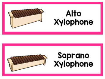 Simple Orff Instrument Labels