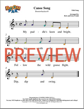 Orff Sheet music - Simple Orff Singles – Canoe Song