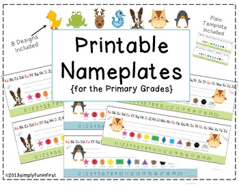 Printable Nameplates for K-2