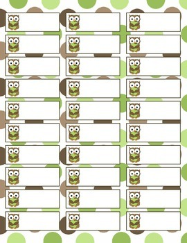 Simple Owl Labels Sheet