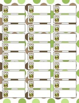 Simple Owl Labels Sheet