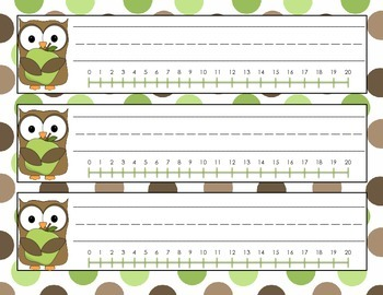 Simple Owl Name Tags with Borders, Background, and Number Line