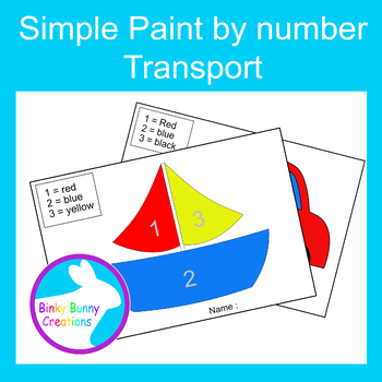 Simple Paint by Number Transportation Vehicles Fine Motor Art Skills Activity