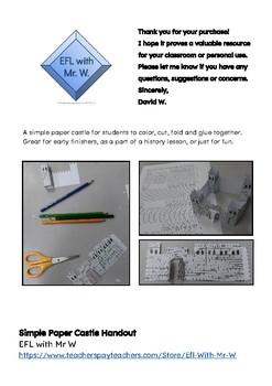 Simple Paper Castle Handout