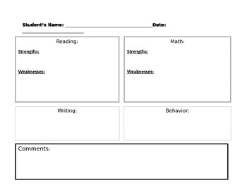 Simple Parent/ Teacher Conference Sheet