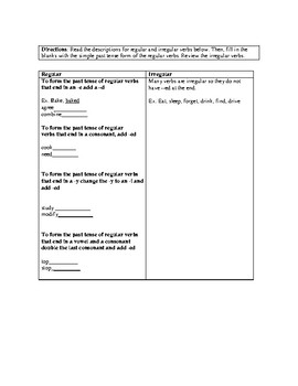 Simple Past Lesson Plan, Low Intermediate
