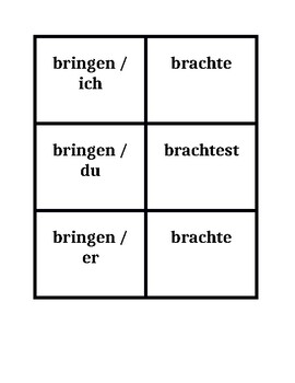 Simple Past Preterite Irregular verbs in German Concentration games