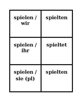 Simple Past Preterite Regular verbs in German Concentration games