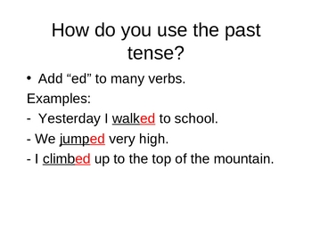 """Simple Past Tense Verbs with """"ed"""""""