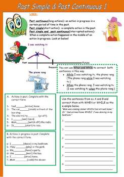 Simple Past and Past Continuous 1- Grammar and excersises.