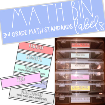 Simple Pastel 3rd Grade Math Bin Labels