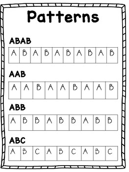 Simple Pattern Reference Poster and Worksheet Activity