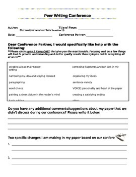 Peer Writing Conference Sheet (Personal Narrative/Other)