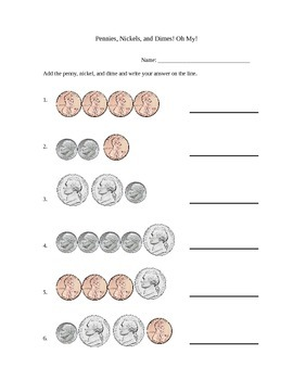 Simple Penny, Nickel, and Dime Addition Worksheet
