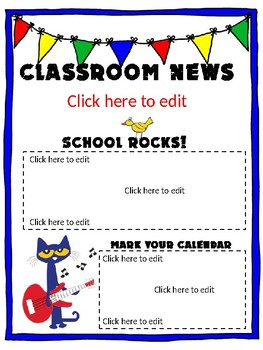 Simple Pete the Cat Newsletter (Editable)