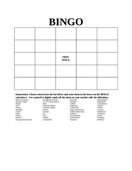Simple Physical & Chemical Changes Bingo
