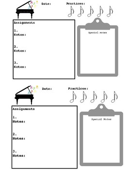 Simple Piano Assignment Sheet