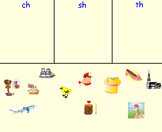 Simple Picture Sort: Words Beginning with /th/, /sh/, or /ch/