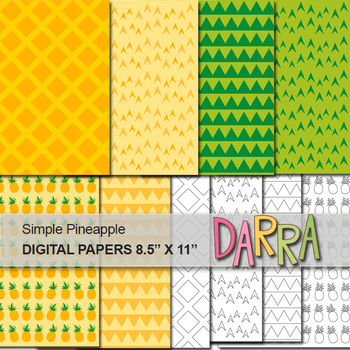 Simple Pineapple Digital Papers Page Background
