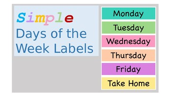 Simple, Plain, & Colorful Days of the Week Labels