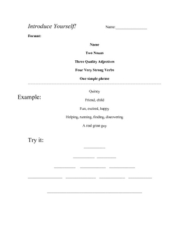 Simple Poem Template for Students to Introduce Themselves