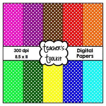 Simple Polka Dot Digital Background Papers {8.5 x 11} Clip Art CU OK