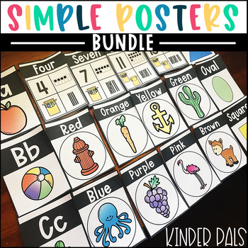 Simple Posters BUNDLE- Alphabet, Numbers, Colors, and Shapes