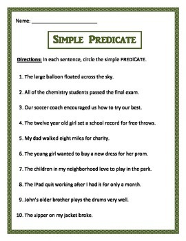 Simple Predicate - 3 pages of 10 questions per page. Common Core.