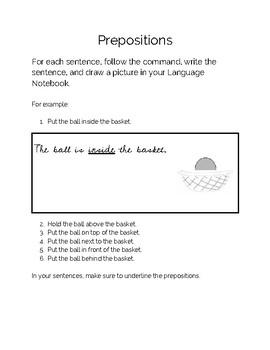 Simple Prepositions Work - Montessori