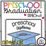Simple Preschool Graduation Diploma with EDITABLE file