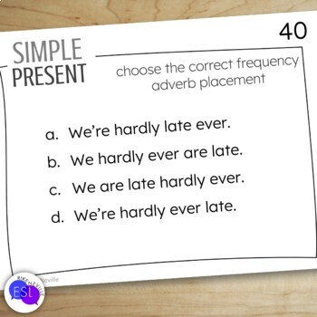 Simple Present Task Cards for Secondary to Adult Students