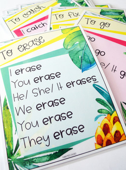 Verbs Poster Set - Tropical Theme - (Present Simple)