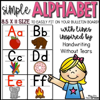 Simple Handwriting Without Tears Alphabet-  8.5 x 11 Size!