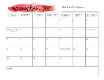 Simple Printable Watercolor Calendars and Pacing Guide