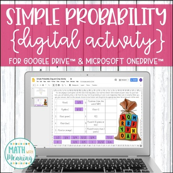 Simple Probability DIGITAL Drag and Drop Activity for Google Drive™