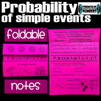 Simple Probability Foldable Notes for Interactive Notebook