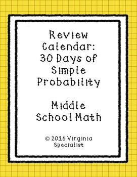 Simple Probability Review Calendar
