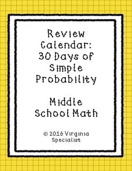 Simple Probability Review Calendar