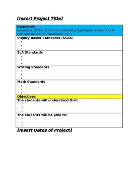 simple project based learningpbl lesson plan template