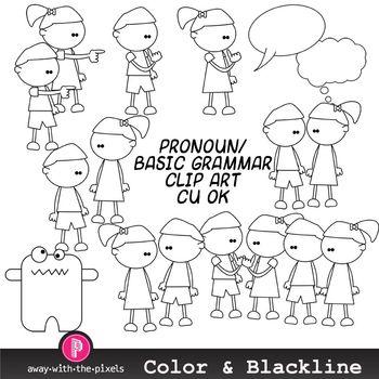 Simple Pronoun Clip Art for Illustrating Beginner Grammar and ESL Resources