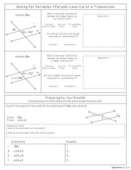 Simple Geometric Proofs with Parallel Lines - Interactive Note-Taking Materials