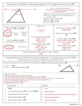 Simple Proofs with Triangles - Interactive Note-Taking Materials