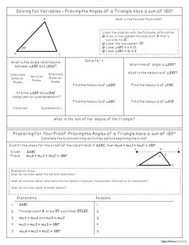 Simple Geometric Proofs with Triangles - Interactive Note-Taking Materials