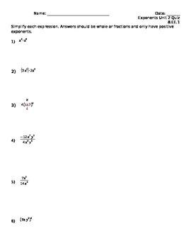 Simple Properties of Exponents Quiz