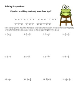 Simple Proportions Joke Worksheet