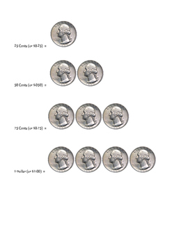 Simple Quarters Adding up to $1.00 Visual Aid