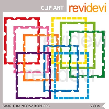 Simple Rainbow Borders - Commercial use clip art - Seller toolkit resource