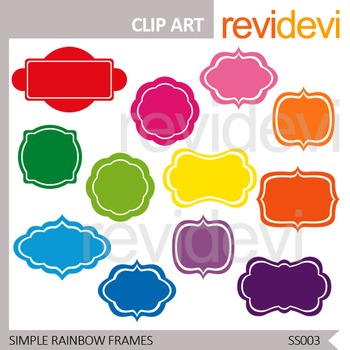 Simple Rainbow Frames Clip art - Labels Set of 12 - Commercial use