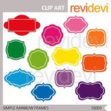 Simple Rainbow Frames Clip art - Labels Set of 12 - Commer